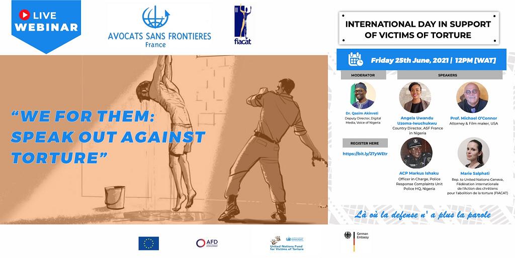 Illustration : WEBINAIRE | WE FOR THEM: Speak Out Against Torture / La torture : un crime contre l'humanité