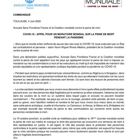 COMMUNIQUÉ DE PRESSE - COVID-19 : APPEL POUR UN MORATOIRE MONDIAL SUR LA PEINE DE MORT PENDANT LA PANDÉMIE